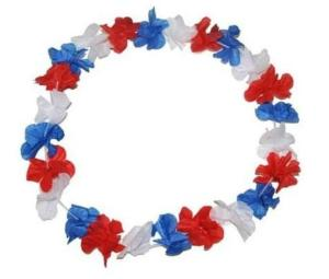 COLLIER DE FLEURS TAHITI HAWAI SUPPORTER FRANCE