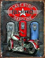 PLAQUE DECORATIVE EN METAL RETRO 40.5 X 31.7 CM LAST STOP FULL SERVICE GASOLINE
