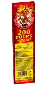 200 COUPS - CHAINE DE 200 PETARDS A MECHE LE TIGRE PYRAGRIC RELIES EN BATTERIE