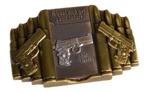 "BOUCLE DE CEINTURE AVEC BRIQUET INTEGRE METAL RECTANGULAIRE REPLIQUE PISTOLET ""SHOOT AND GET YOUR FUTURE"""