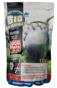 SACHET DE 2000 BILLES BLANCHES BIODEGRADABLES 0.20 G CALIBRE 6 MM G&G