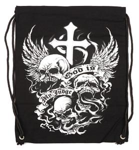 "SAC A DOS TYPE "" MARIN "" NOIR AVEC CORDON ET IMPRESSION GOD IS MY JUDGE"