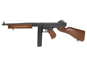 THOMPSON MODELE M1 A1 MILITARY AEG KING ARMS LIVRE AVEC BATTERIE/CHARGEUR + CHARGEUR CAMEMBERT