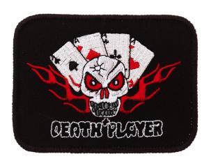 ECUSSON / PATCH DEATH PLAYER CARTES DE JEUX AS AVEC TETE DE MORT