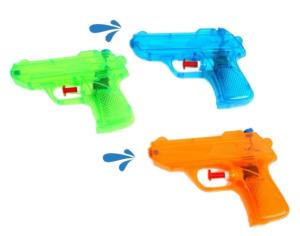 LOT DE 3 PISTOLETS A EAU 12 CM PLASTIQUE TRANSPARENT VERT + BLEU + ORANGE