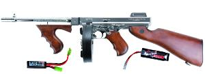 THOMPSON M1928 M 1928 CHICAGO AEG VERSION ARGENT ET BOIS 1.5 JOULE + BATTERIE 1600 MH + MOSFET