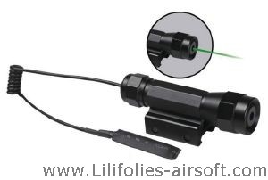 LASER VERT CLASSE 2 METAL REGLABLE RTI AVEC CONTACTEUR SIMPLE OU CONTACTEUR DEPORTE SWITCH AIRSOFT