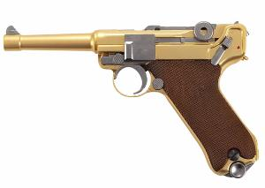 "LUGER P08 S 4"" GOLD FULL METAL GAZ BLOWBACK  SEMI AUTO HOP UP 0.7 JOULE"