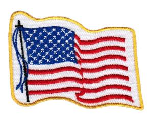 ECUSSON OU PATCH DRAPEAU USA AVEC BAGUETTE CONTOUR JAUNE BRODE THERMO COLLANT